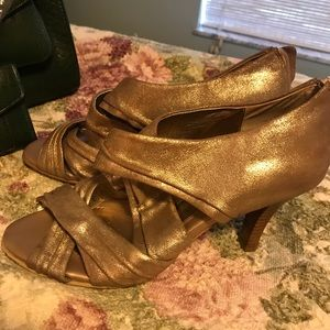 Gold open toe Sofft Brand Size 9 high Heels